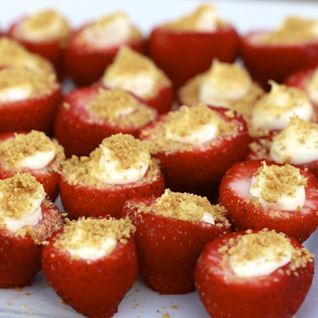 Cute-as-a-Button Mini Strawberry Cheesecake Bites - Picklee