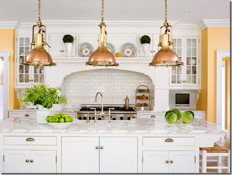 Gold Tones Blended With Pures White In This Country Chic White Kitchen